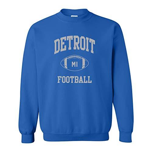 Detroit Classic Football Arch - Hometown Pride Crew Sweatshirt - Medium - Royal