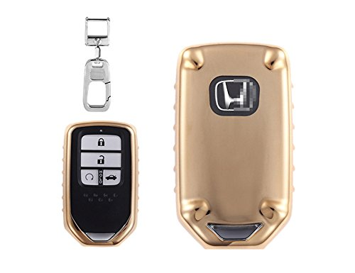 QBUC Car Keyless Replacement Shell Electronic Cover With Extra Key Holder Hook for Honda (Gold) by QBUC