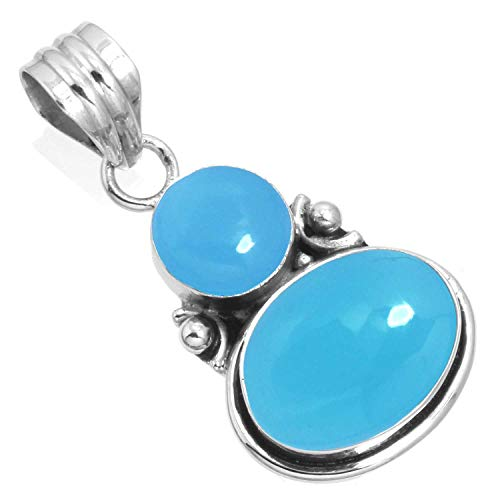 Natural Blue Chalcedony Women Jewelry 925 Sterling Silver Pendant
