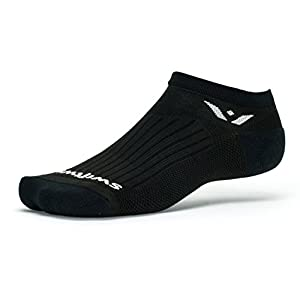 Swiftwick – PERFORMANCE ZERO | Socks Built for Running and Golf | Fast Drying, Cushioned No Show Socks | Black, Large