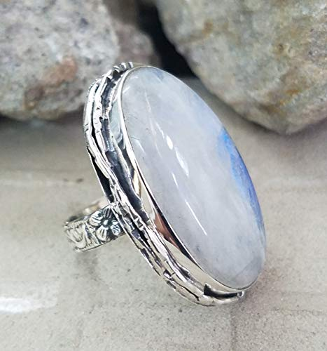 Rainbow Moonstone Ring.925 Sterling Silver.Extraordinary Ring.Wedding & Engagement Ring.Smooth & Shiny Jewelry.Healing Ring.Party Wear Ring.Royal & Charm Ring.Fantastical Jewel.Cocktail Ring ()