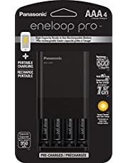 Panasonic K-KJ87K3A4BA Individual Battery Charger with Portable Charging Technology and 4AAA Eneloop Pro Rechargeable Batteries, Black