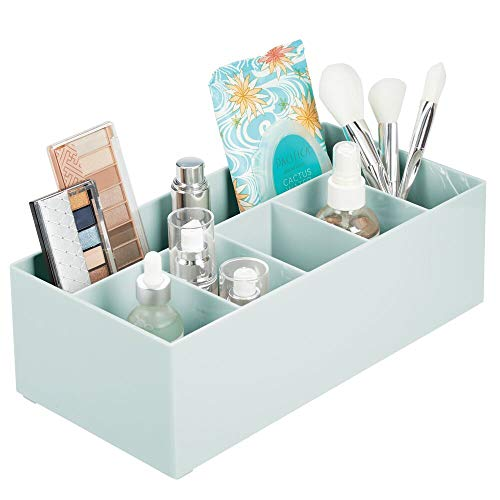 - mDesign Plastic Cosmetic Organizer Storage Center with 6 Sections for Bathroom Countertops, Vanity - Hold Makeup Brushes, Lipstick, Lip Gloss, Concealers, Mascara, Palettes, Eye Pencils - Mint Green