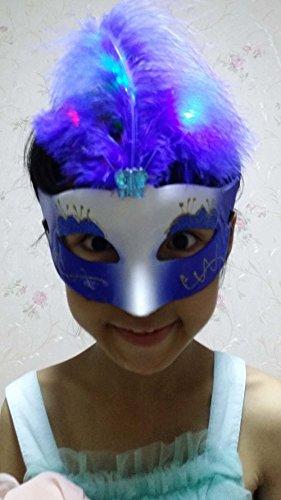 Miyaya Masquerade Party Mask, Feather Mask (Three Types of Light) (Mardi White Mask Gras Feather)