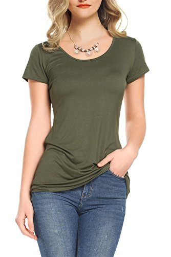 Amoretu Basic Cotton Tee Short Sleeve T Shirts for Women Summer (Army Green, (Definition Fitted T-shirt)