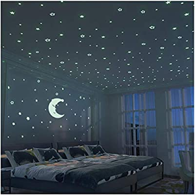 Glow In The Dark Moon And Stars 300pcs 9 4 Large Moon And Various Size Fluorescent Stars For Ceiling Decoration In Kids Room