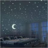 Glow in The Dark Moon and Stars - 300PCS - 9.4'' Large Moon and Various Size Fluorescent Stars for Ceiling Decoration in Kids Room