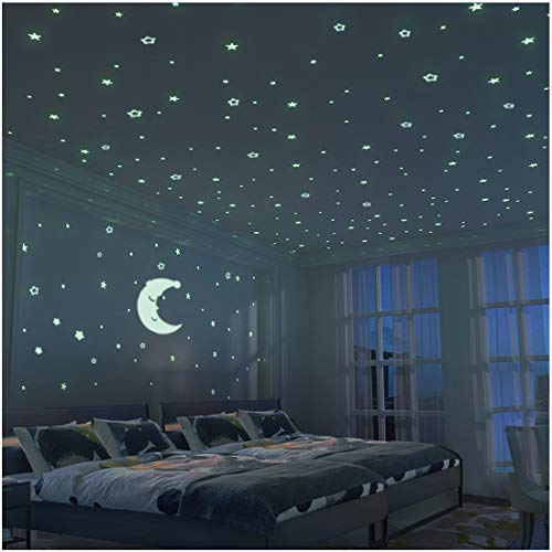 Glow in The Dark Moon and Stars - 300PCS - 9.4'' Large Moon and Various Size Fluorescent Stars for Ceiling Decoration in Kids Room by FRETOD (Image #8)