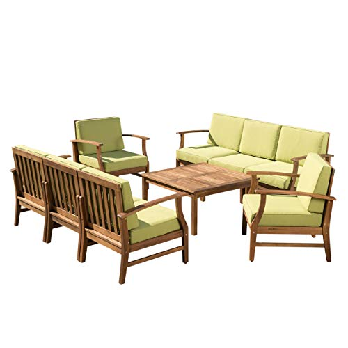 Lorelei Outdoor 8 Seater Teak Finished Acacia Wood Double Sofa and Club Chair Set with Green Water Resistant Cushions (Best Furniture Priced Outdoor)