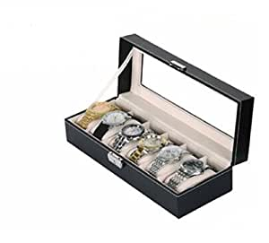 Revesun Leather 6 Grid Watch Display Case Box Jewelry Storage Organizer