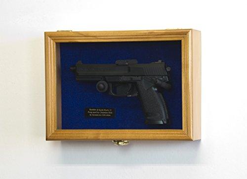 - sfDisplay.com, Factory Direct Display Cases Single Pistol Display Case Wall Mount Solid Hardwood Cabinet (Oak Finish, Blue Felt Background)