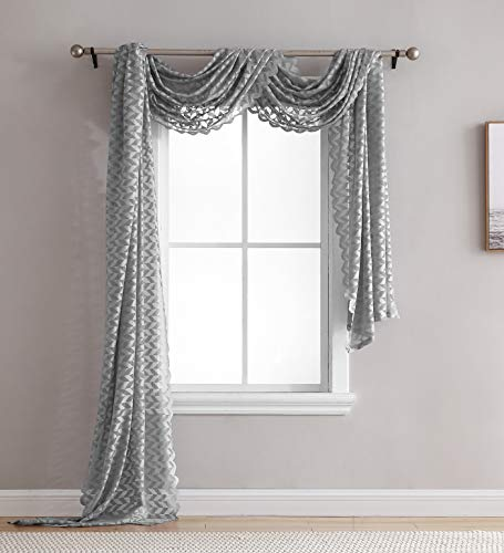 (HLC.ME Herringbone Lace Sheer Window Curtain Scarf - Valance - 40