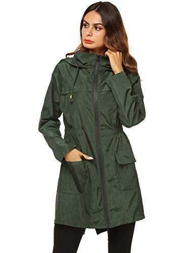 AKEWEI Women Lightweight Raincoat Waterproof Trench Coat Windbreaker Hiking Rain Jacket Breathable Summer Coat Dark Green S