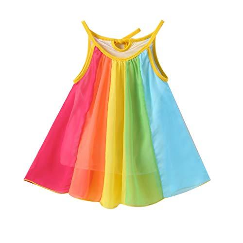 Kids Baby Girls Princess Dress Spaghetti Strap Sleeveless Sling Chiffon Summer Rainbow Beach Party Casual Swing Tutu Dress (Yellow, 3-4 Years)
