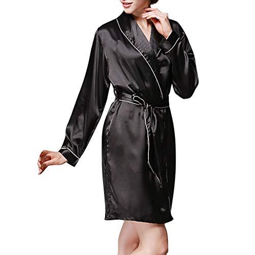 Other-sey Women's Underwear Fashion Silk Womens Solid Color Satin Robe Pajamas Sleepwear Bathrobe with Belt Black