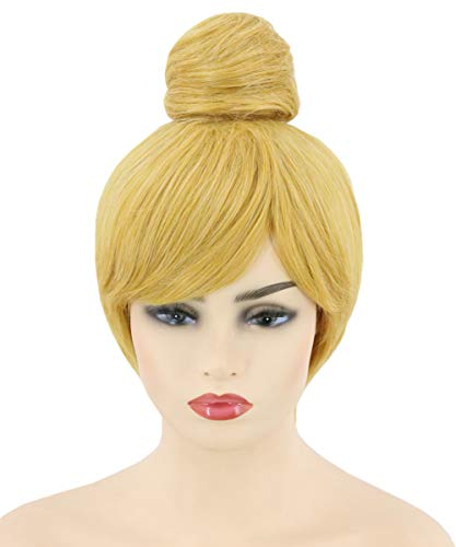 Topcosplay Women's Wig Blonde Short Straight Cosplay Halloween Costume Party Wigs with Bun -