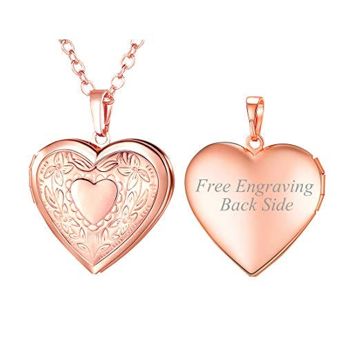 U7 Charm Necklace Flower Pattern Rose Gold Plated Heart Photo Locket Pendant with 22 Inches Chain, Customized Message Engrave