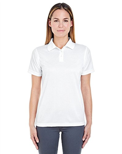 UltraClub 8305L Ladies Cool & Dry Elite Mini-Check Jacquard Polo White XXX-Large