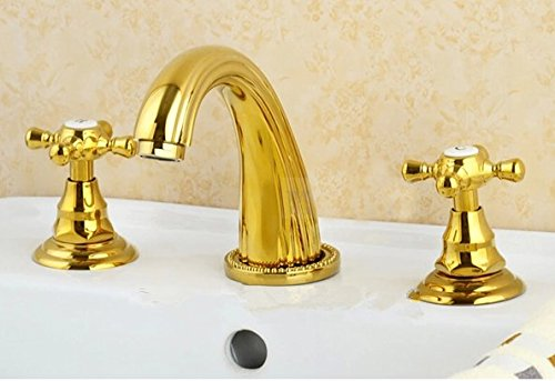 GOWE Solid Brass Golden Polished 3Pcs Bathroom Basin Sink Faucet Dual Handles Mixer Tap Deck Mount 0