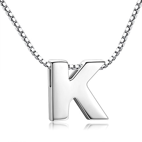 Candyfancy K Initial Necklace 925 Sterling Silver Alphabet Personalized A-Z Letter Pendant Necklace for Women Girls Gift with 18