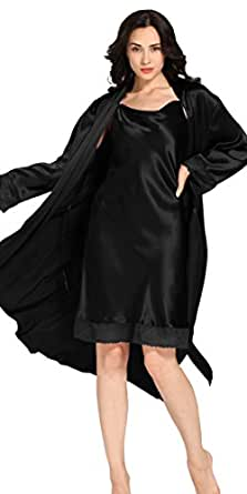 Lace Silk Nightgown Bathrobe set for Women 22 Momme 100% Mulberry Silk LILYSILK(TM) (XS, Black)