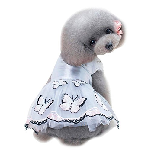 OOEOO Small Puppy Dress Pet Apparel Butterfly Pearl Shirt Dog Cat Costume Summer Skirt (Pink, L) ()