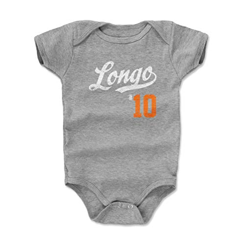 500 LEVEL San Francisco Baseball Baby Clothes, Onesie, Creeper, Bodysuit - 6-12 Months Heather Gray - Evan Longoria Longo Players Weekend Script O WHT - Evan Longoria Mlb