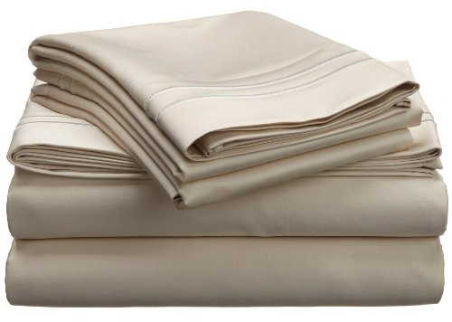 800 Thread Count, 100% Egyptian Cotton, Single Ply, Deep Pocket Sheet Set, King, Ivory with Ivory Embroidery