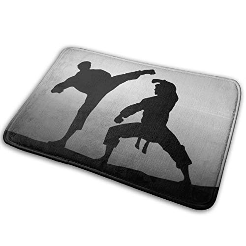 Jingclor Welcome Doormat, Entrance Floor Mat Rug Indoor Outdoor Front Door Mat with Non-Slip Rubber Backing, Printing Doormats with Karate Silhouette, 15.8''WX23.6''L ()