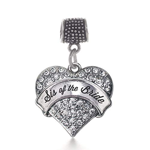 Inspired Silver - Silver Sis of The Bride Memory Charm for Women - Silver Pave Heart Charm for Bracelet with Cubic Zirconia Jewelry