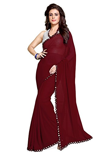 Mirchi Fashion Women's Maroon Faux Georgette Mirror Lace work Party Wear Saree