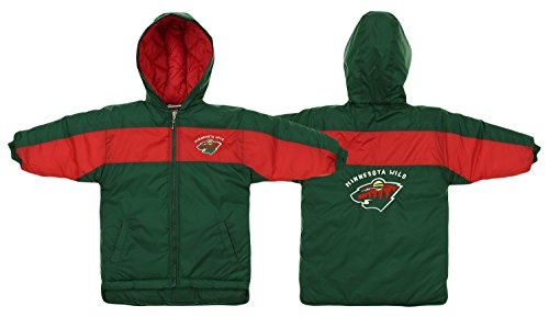 Minnesota Wild NHL Little Boys Toddlers Hooded Parka Jacket, Green (3T) ()
