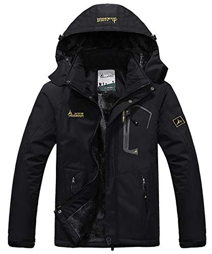 (JINSHI Men Snow Jacket Windproof Waterproof Ski Jackets Winter Hooded Mountain Fleece Outwear (Black,XL))