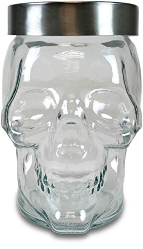 Circleware 07453/AM Skull Mason Jar Glass Canister with Metal Lid, Set of 4 Kitchen Glassware Food Preserving Storage Container for Coffee, Sugar, Cookies, Tea, Spices, Cereal & Home Decor 42 oz Clear