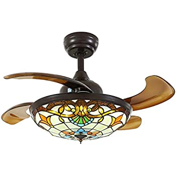 36 inch led dimmable chrome ceiling fan retractable blades - Fan with retractable blades ...