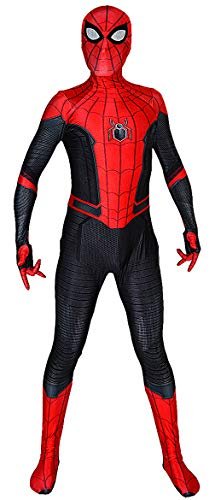 Far from Home Spider-Man Costume Kids 2019 Film FFH Spiderman Suit Adults Cosplay Best Halloween Costume (Large) Red and Black]()