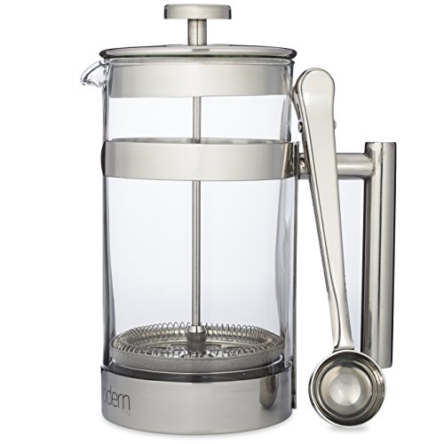 Simple Modern French Press Coffee & Tea Maker - 1 Liter - Double Filter - Plus Coffee Spoon - Best Coffee Press Pot with Stainless Steel & Heat Resistant Glass