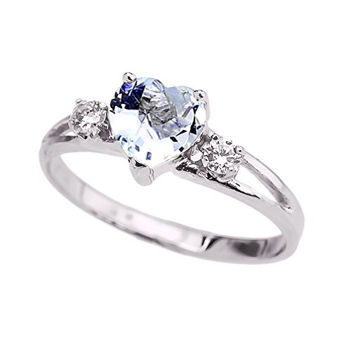 Precious 10k White Gold March Birthstone Heart Proposal/Promise Ring with White Topaz (Size 7)