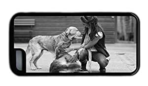 linJUN FENGHipster DIY iphone 6 plus 5.5 inch case girl dogs TPU Black for Apple iphone 6 plus 5.5 inch