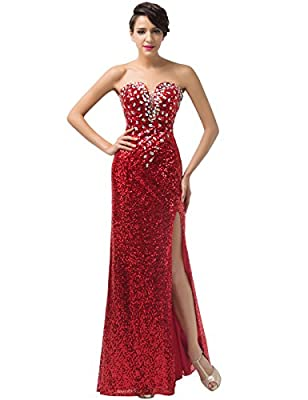Grace Karin Strapless Sequins Split Ball Gown Evening Prom Party Dress Red