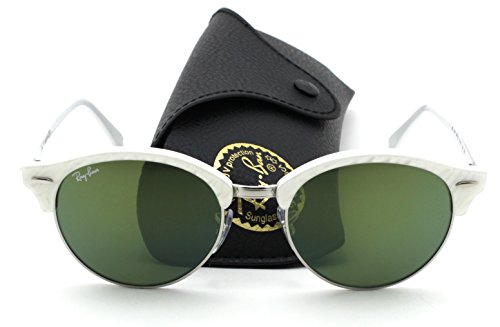 Ray-Ban RB4246 Clubround Unisex Sunglasses (Wrinkled White Frame/Green Mirror Lens 988/2X, - Ban Aviators Ray White