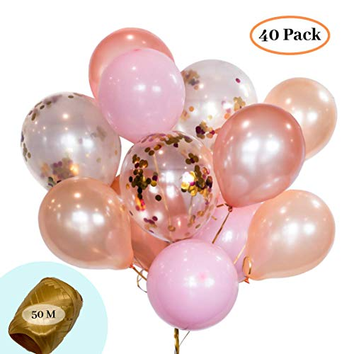 """: HomyBasic 12"""" Rose Gold, Pink, Peach & Confetti Balloons Set 40 with 50M Ribbon. Party Balloon for Birthday Decorations, Baby shower for girl, Wedding, Bachelorette Parties, Arch, Garland Kit"""