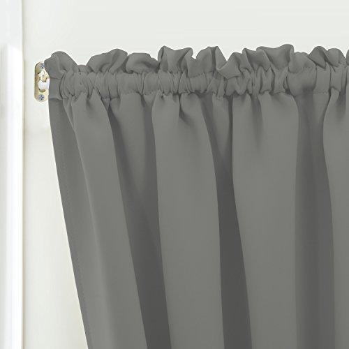 Blackout Door/ Window Curtain Panels for Privacy - Aquazolax 54W x 40L Blackout Window Treatment Curtains for French Door - 1 Panel, Grey by Aquazolax (Image #5)'