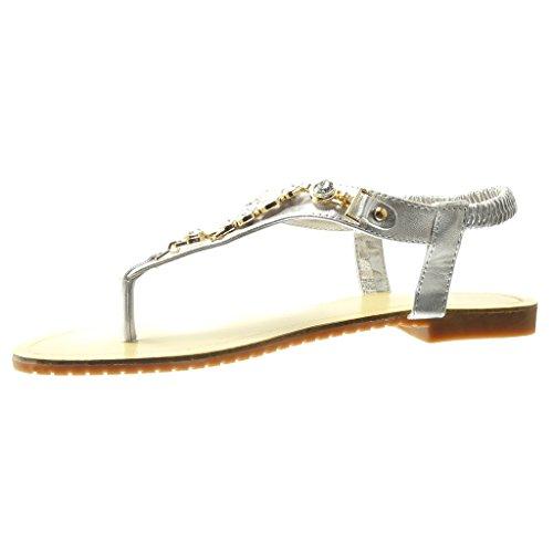Angkorly - damen Schuhe Sandalen Flip-Flops - T-Spange - Schmuck - Strass - fantasy flache Ferse 1.5 CM - Silber