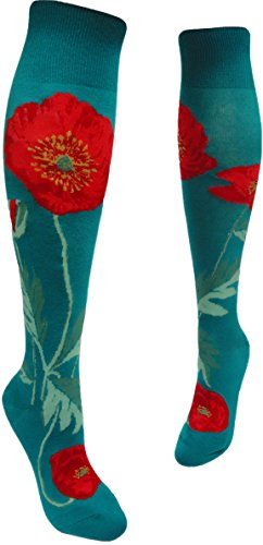 Long Tall Poppies (ModSocks Womens Bold Poppies Knee Socks 6-10 Lake)