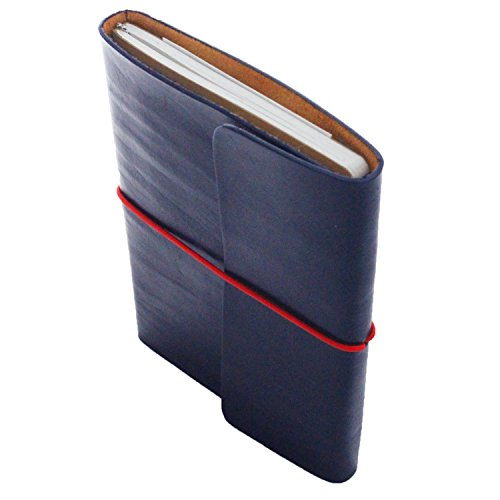 Handcrafted Full Grain Leather Refillable Notebook, Journal & Sketchbook - Tree & Acid Free Banana Paper Refills - 80 Blank Pages 5.5'' x 8'' (Navy ()