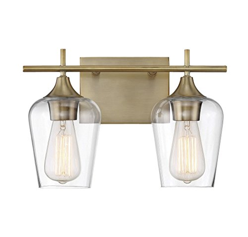 Savoy House 8-4030-2-322 Octave Two Light Bath Bar in Warm Brass Copper Bathroom Vanity Light