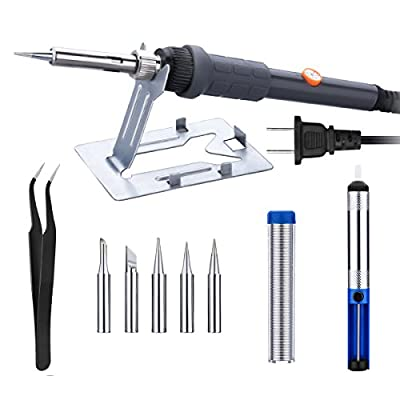 OMorc 6-in-1 60W Soldering Iron Kit - Adjustable Temperature, 5pcs Different Tips, Desoldering Pump,Stand, anti-static Tweezers and Solder Wire