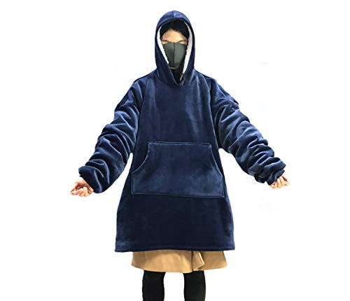 MONOBLANKS Giant Warm Oversized Blanket Sweatshirt One Size for All,Soft and Comfortable Large Front Pocket Blanket Sweatshirt (Blue) ()