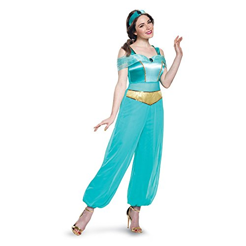Teen Jasmine Costumes (Disney Women's  Jasmine Deluxe Adult Costume, Turquoise, Medium)